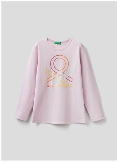 Benetton Benetton 322113I9Wc154I Pamuklu Bisisklet Yaka Uzun Kollu Baskılı Lila Kadın T-Shirt Lila